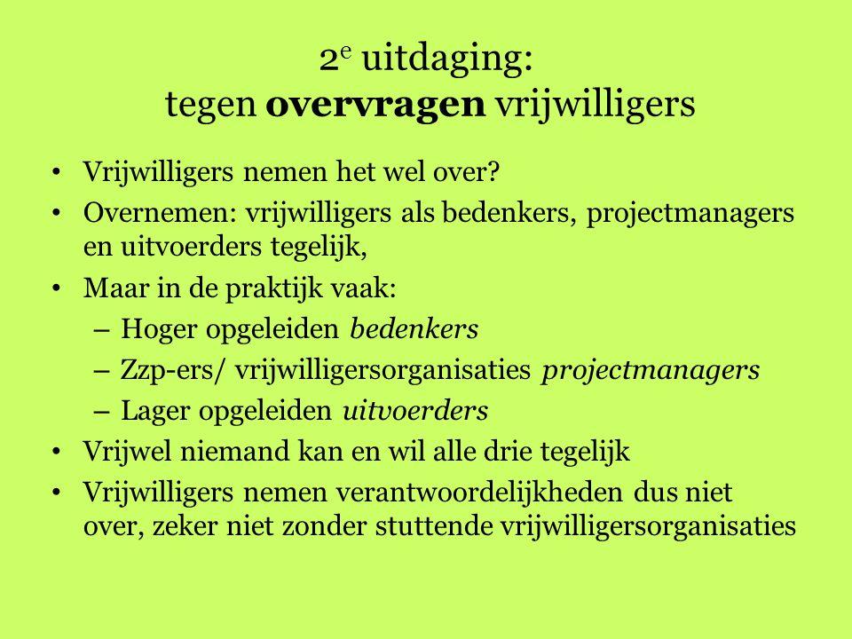 2e uitdaging: tegen overvragen vrijwilligers