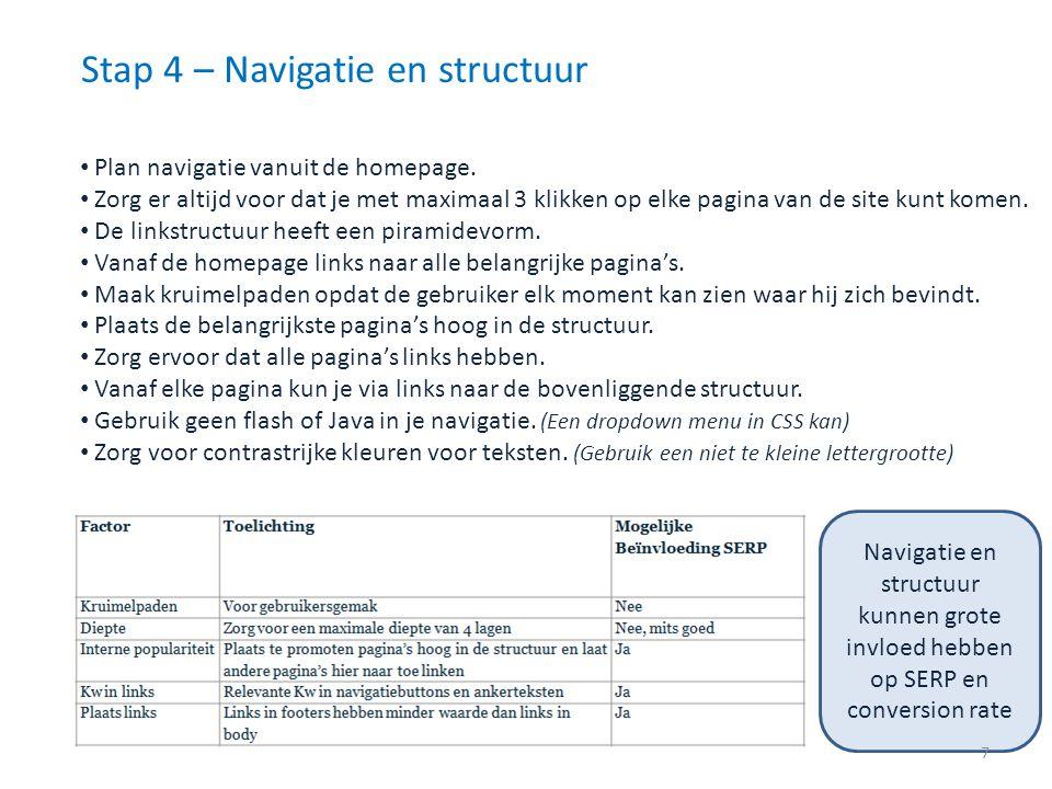 Stap 4 – Navigatie en structuur