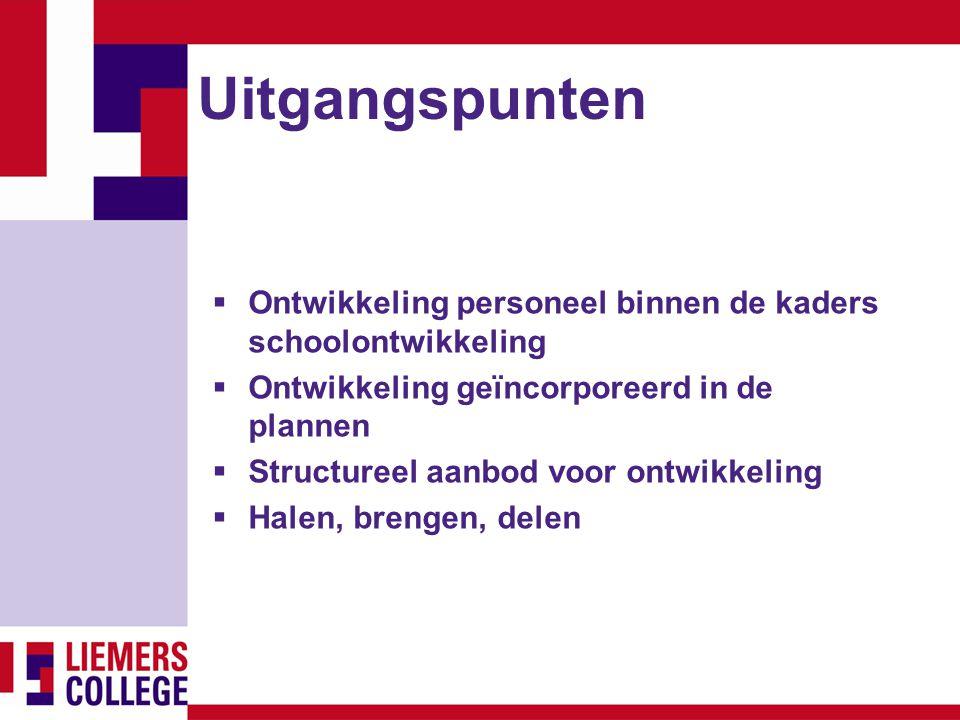 Uitgangspunten Ontwikkeling personeel binnen de kaders schoolontwikkeling. Ontwikkeling geïncorporeerd in de plannen.