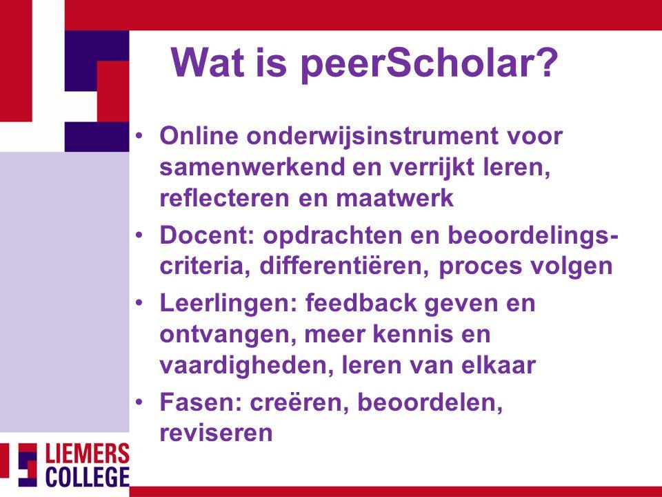 Wat is peerScholar Online onderwijsinstrument voor samenwerkend en verrijkt leren, reflecteren en maatwerk.