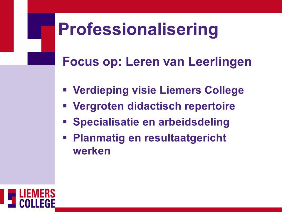 Professionalisering Focus op: Leren van Leerlingen