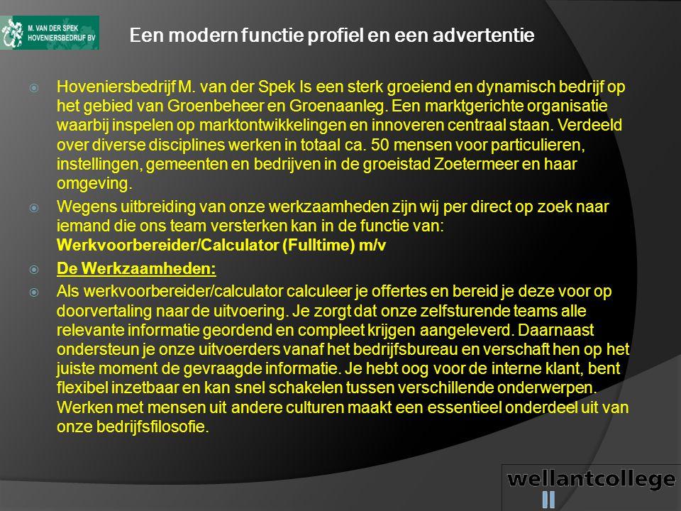 Een modern functie profiel en een advertentie