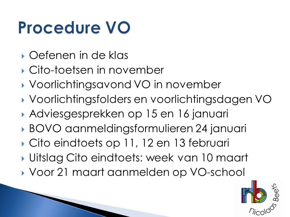 Procedure VO Oefenen in de klas Cito-toetsen in november
