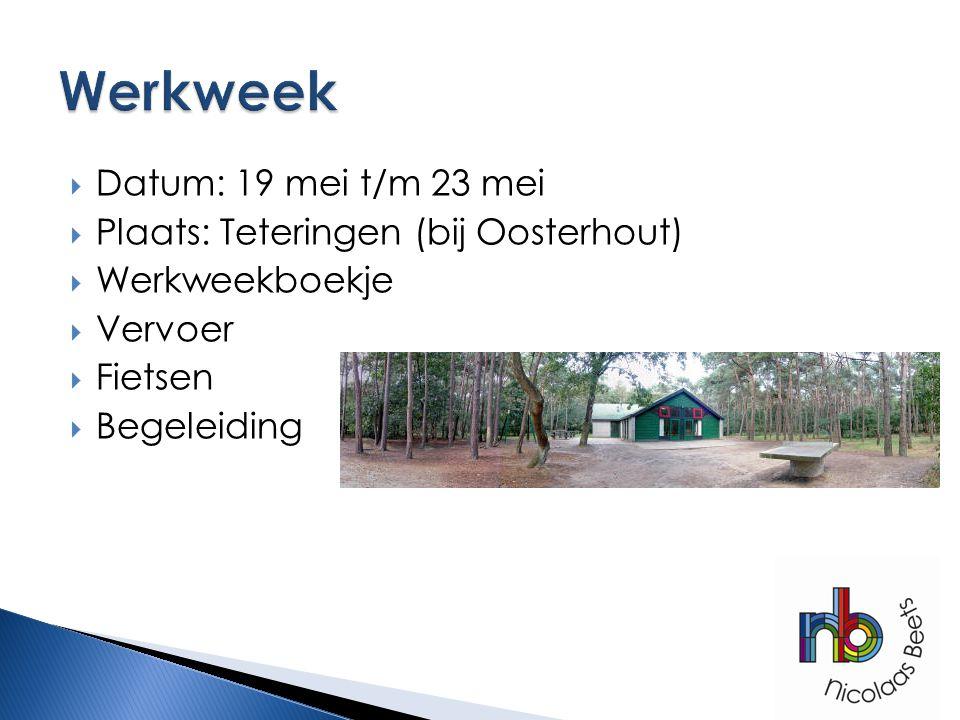 Werkweek Datum: 19 mei t/m 23 mei Plaats: Teteringen (bij Oosterhout)