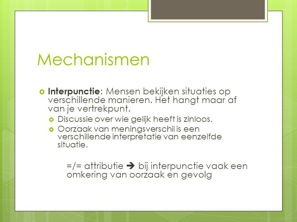 Mechanismen Interpunctie: Mensen bekijken situaties op verschillende manieren. Het hangt maar af van je vertrekpunt.
