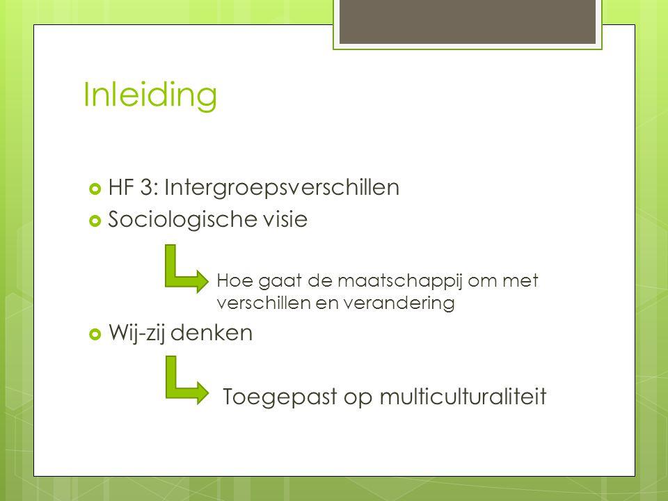 Inleiding HF 3: Intergroepsverschillen Sociologische visie