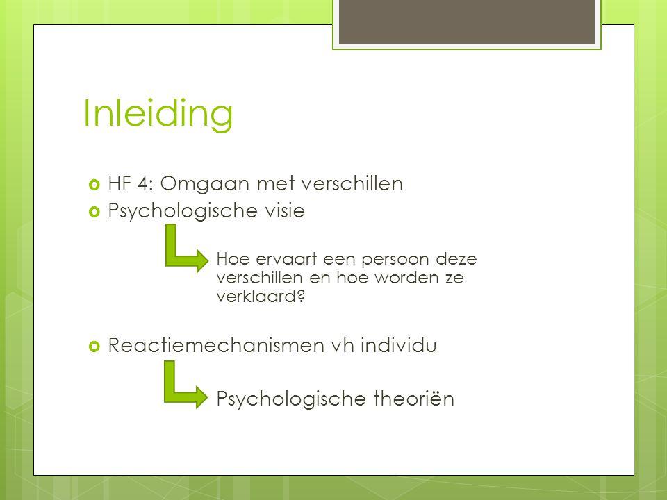 Inleiding HF 4: Omgaan met verschillen Psychologische visie