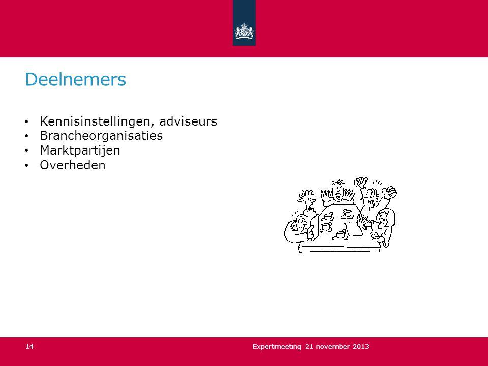 Deelnemers Kennisinstellingen, adviseurs Brancheorganisaties