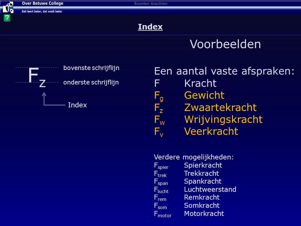 Index Fz Voorbeelden Een aantal vaste afspraken: F Kracht Fg Gewicht