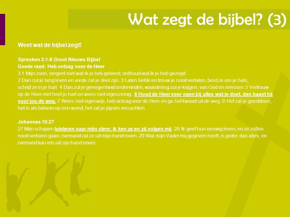 Wat zegt de bijbel (3) Weet wat de bijbel zegt!