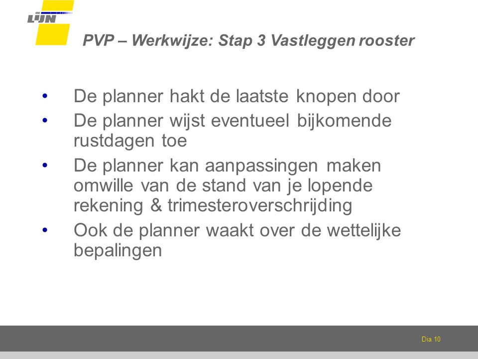 PVP – Werkwijze: Stap 3 Vastleggen rooster