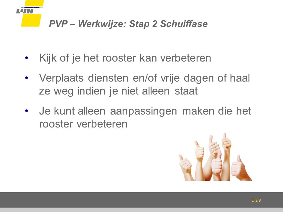PVP – Werkwijze: Stap 2 Schuiffase