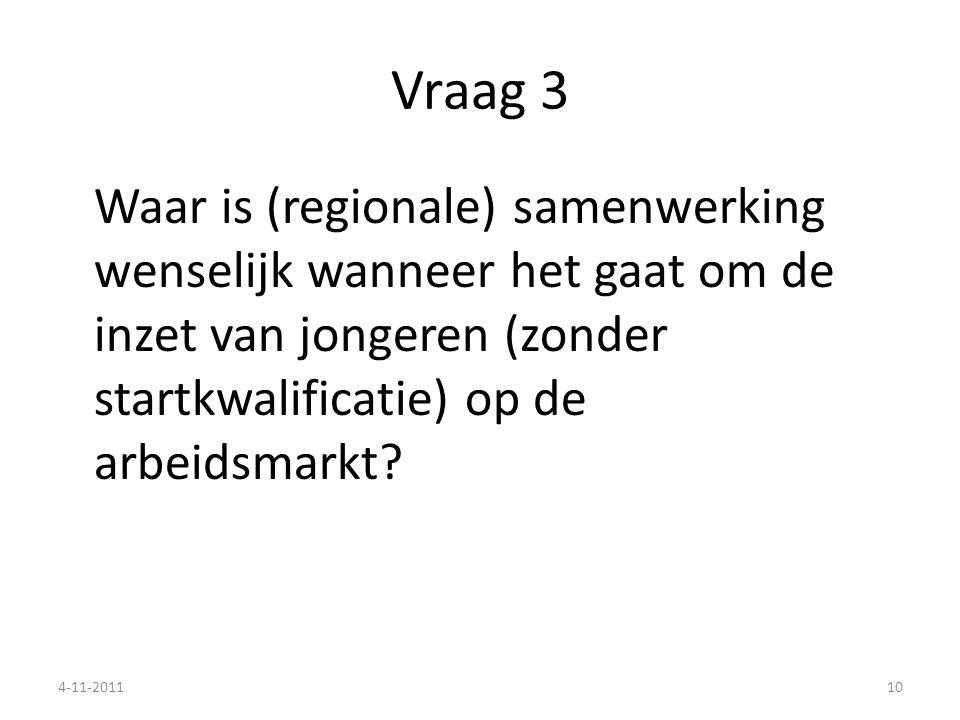 Vraag 3 Waar is (regionale) samenwerking wenselijk wanneer het gaat om de inzet van jongeren (zonder startkwalificatie) op de arbeidsmarkt
