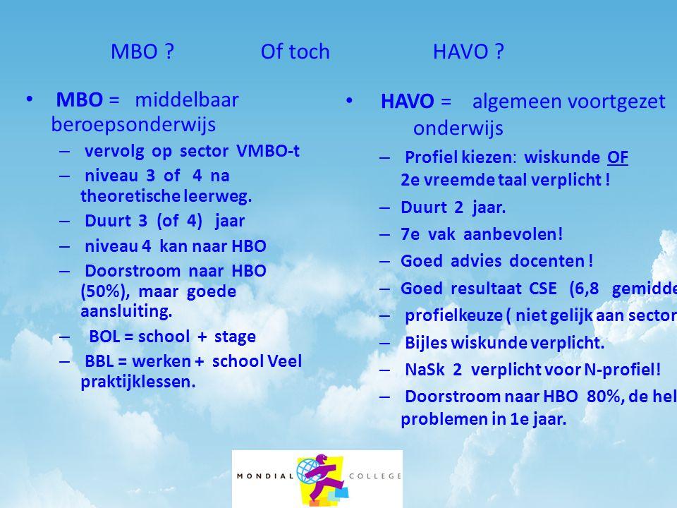 MBO Of toch HAVO MBO = middelbaar beroepsonderwijs