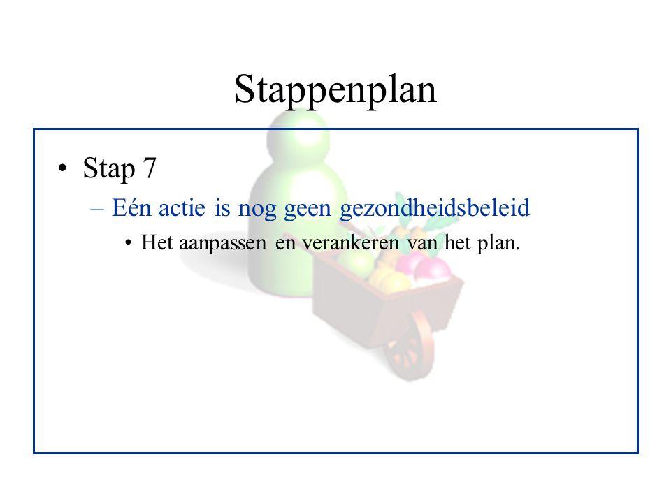 Stappenplan Stap 7 Eén actie is nog geen gezondheidsbeleid