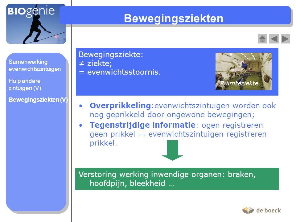 Bewegingsziekten Bewegingsziekte: ≠ ziekte; = evenwichtsstoornis.