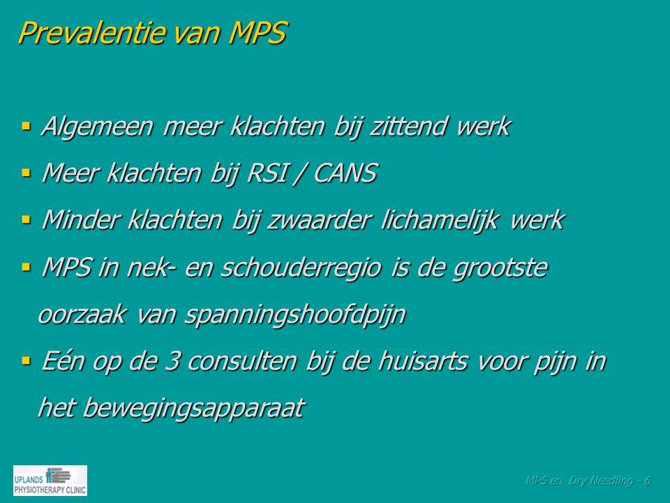Prevalentie van MPS Algemeen meer klachten bij zittend werk