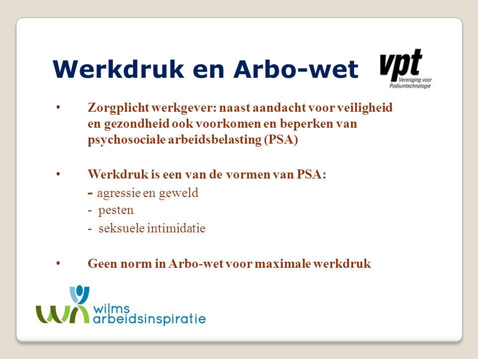 Werkdruk en Arbo-wet - agressie en geweld