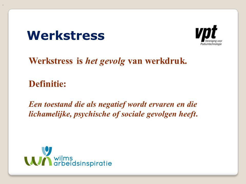 Werkstress Werkstress is het gevolg van werkdruk. Definitie: