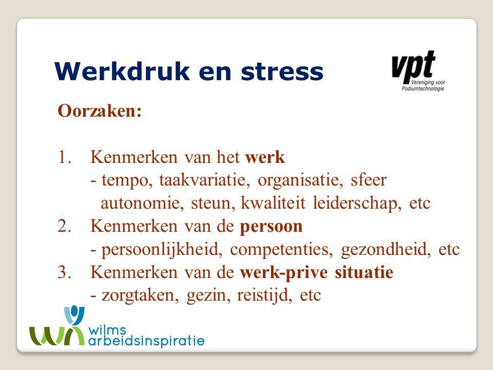 Werkdruk en stress Oorzaken: 1. Kenmerken van het werk