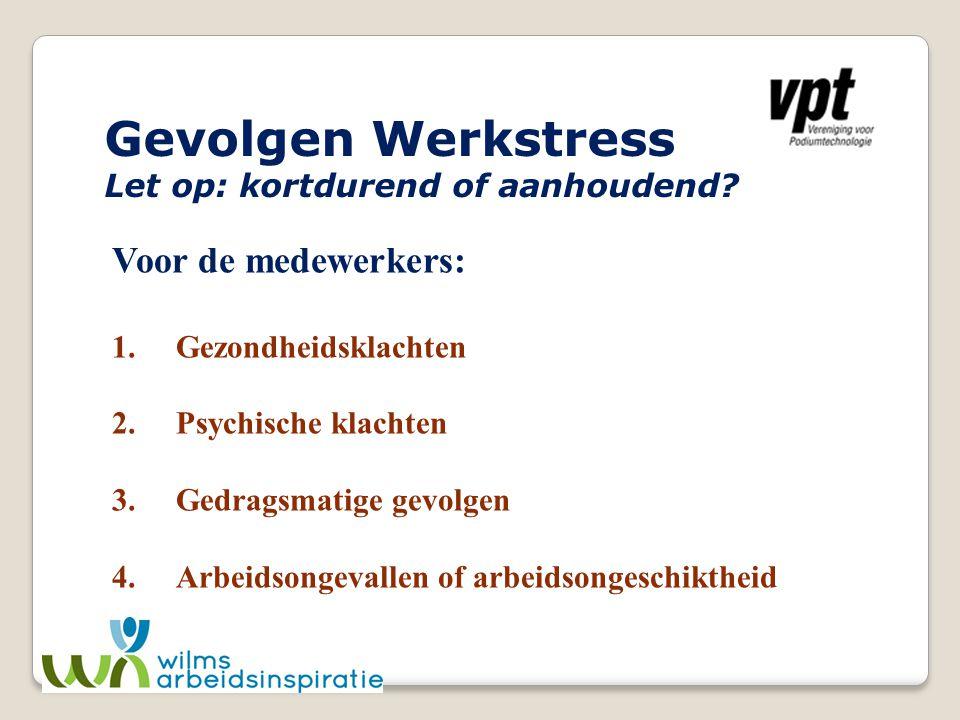 Gevolgen Werkstress Voor de medewerkers: