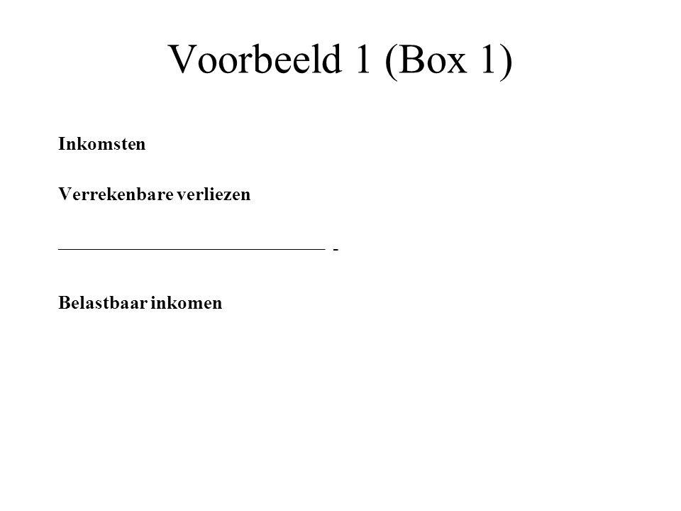 Voorbeeld 1 (Box 1) Inkomsten Verrekenbare verliezen