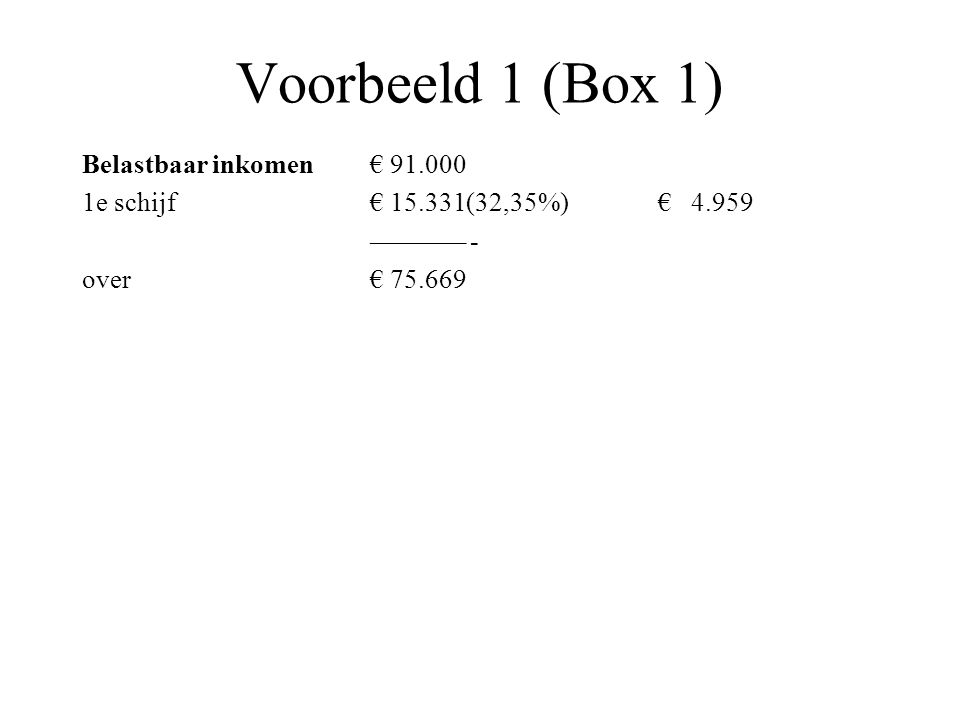 Voorbeeld 1 (Box 1) Belastbaar inkomen € 91.000
