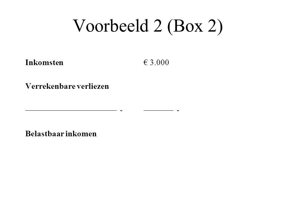Voorbeeld 2 (Box 2) Inkomsten € 3.000 Verrekenbare verliezen