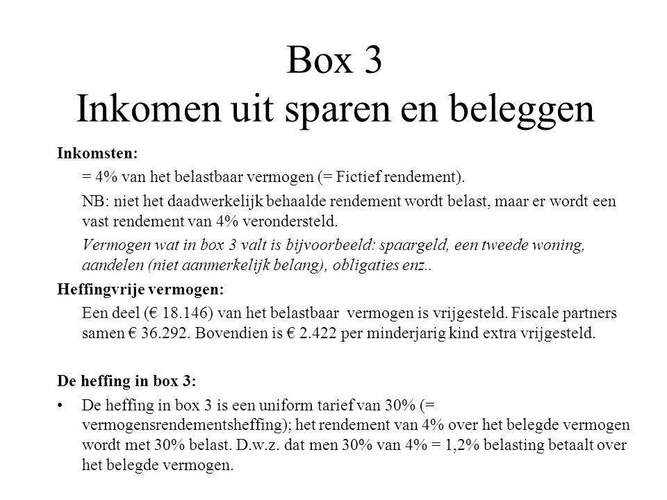 Box 3 Inkomen uit sparen en beleggen