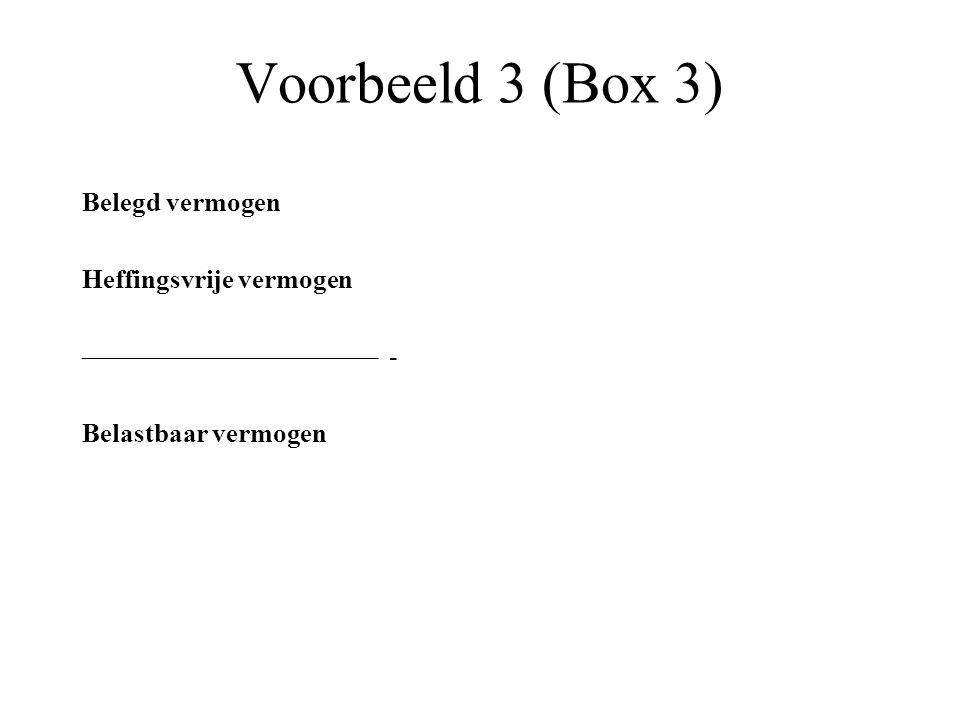 Voorbeeld 3 (Box 3) Belegd vermogen Heffingsvrije vermogen