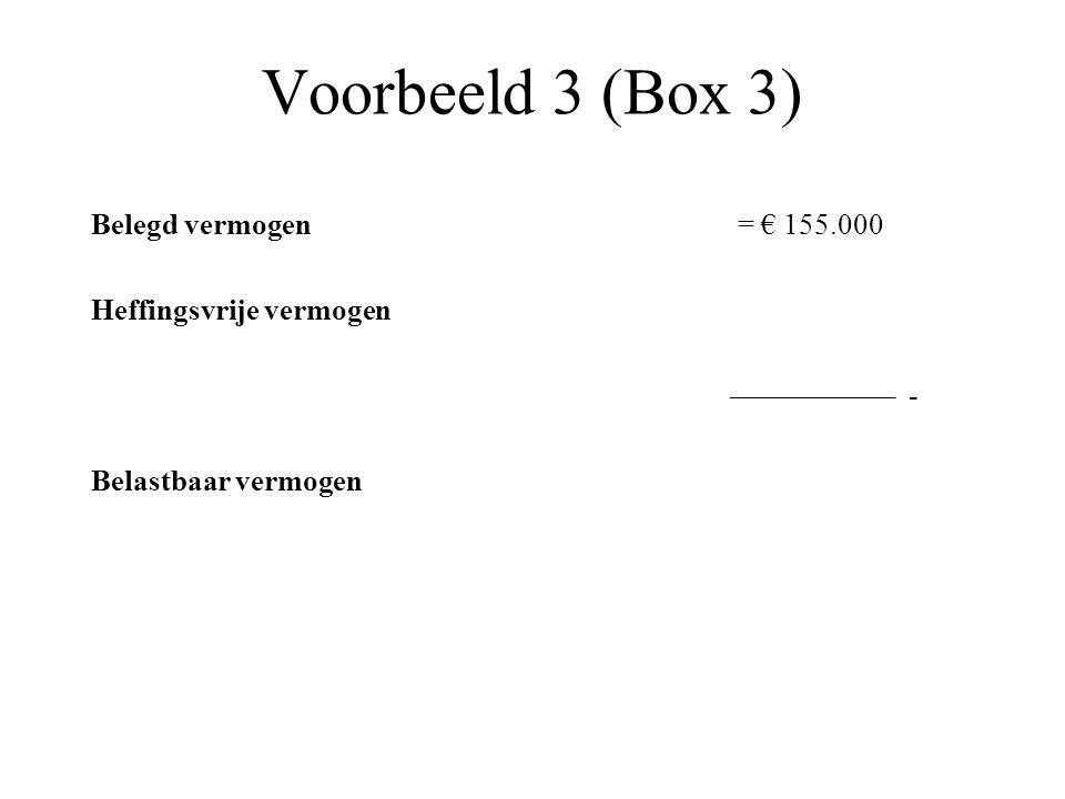 Voorbeeld 3 (Box 3) Belegd vermogen = € 155.000 Heffingsvrije vermogen