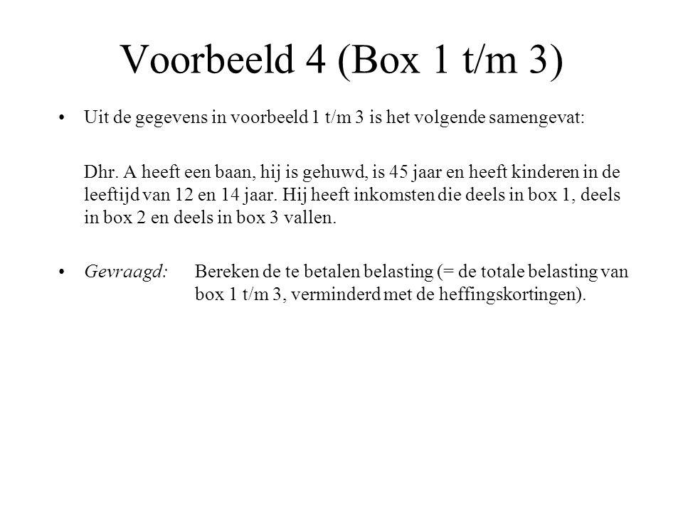 Voorbeeld 4 (Box 1 t/m 3) Uit de gegevens in voorbeeld 1 t/m 3 is het volgende samengevat: