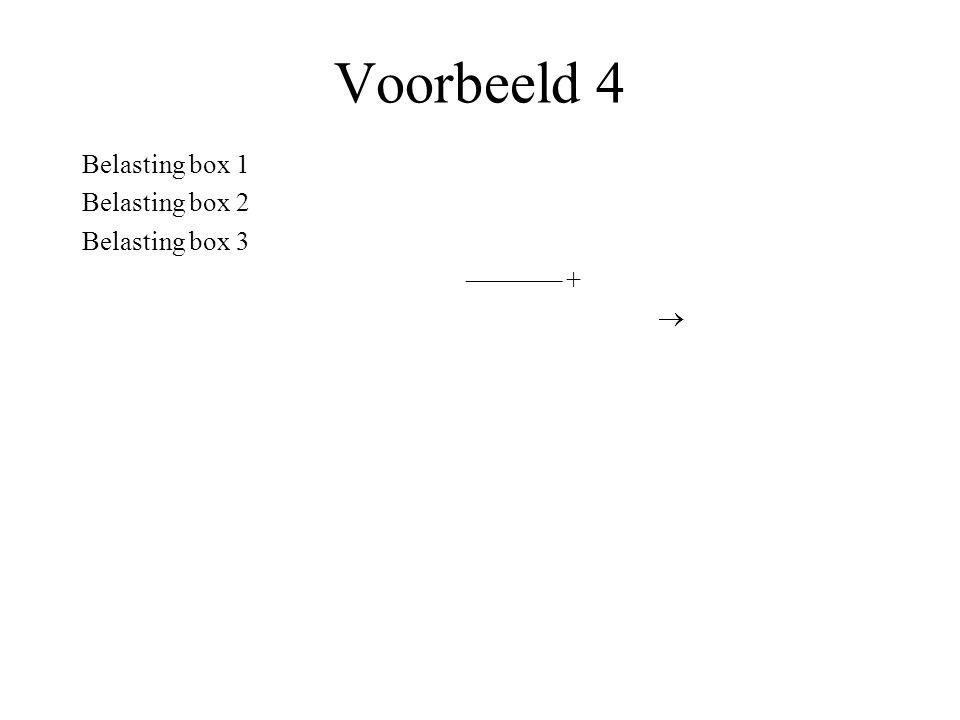 Voorbeeld 4 Belasting box 1 Belasting box 2 Belasting box 3 ––––––– +
