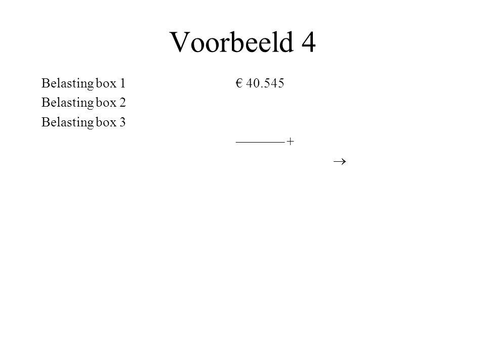 Voorbeeld 4 Belasting box 1 € 40.545 Belasting box 2 Belasting box 3