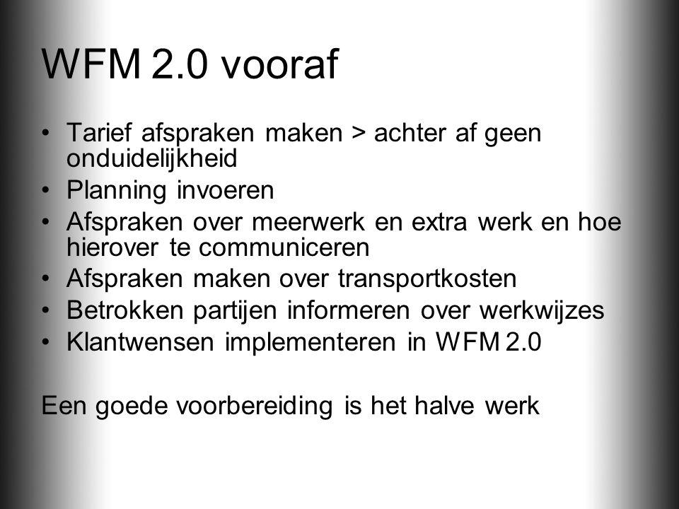 WFM 2.0 vooraf Tarief afspraken maken > achter af geen onduidelijkheid. Planning invoeren.