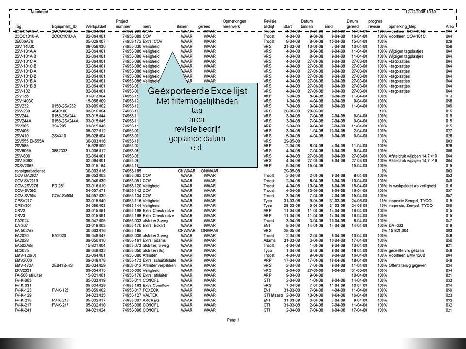Geëxporteerde Excellijst