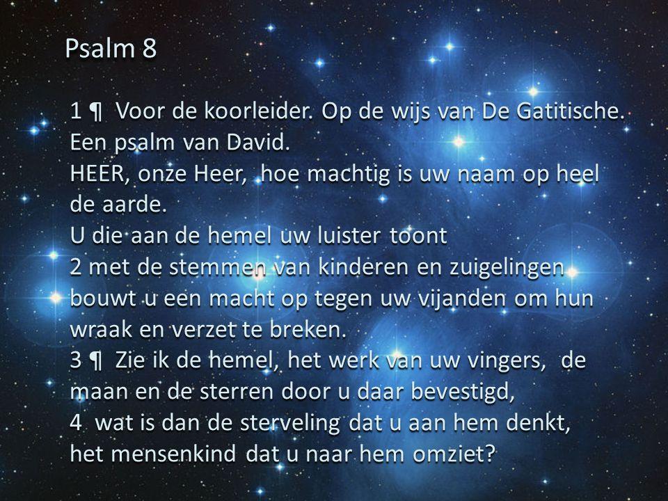 Psalm 8 1 ¶ Voor de koorleider. Op de wijs van De Gatitische. Een psalm van David. HEER, onze Heer, hoe machtig is uw naam op heel de aarde.