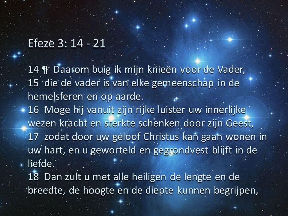 Efeze 3: 14 - 21 14 ¶ Daarom buig ik mijn knieën voor de Vader,