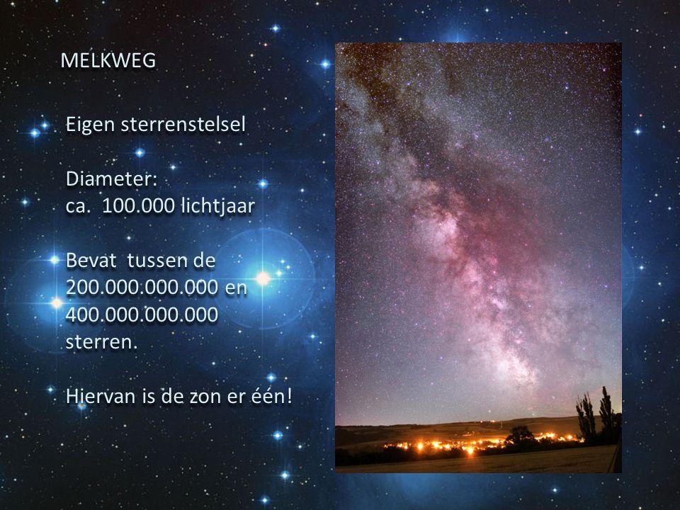 MELKWEG Eigen sterrenstelsel. Diameter: ca. 100.000 lichtjaar. Bevat tussen de 200.000.000.000 en 400.000.000.000 sterren.