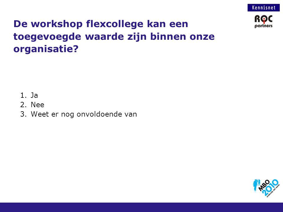 De workshop flexcollege kan een toegevoegde waarde zijn binnen onze organisatie