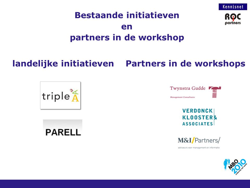 Bestaande initiatieven en partners in de workshop