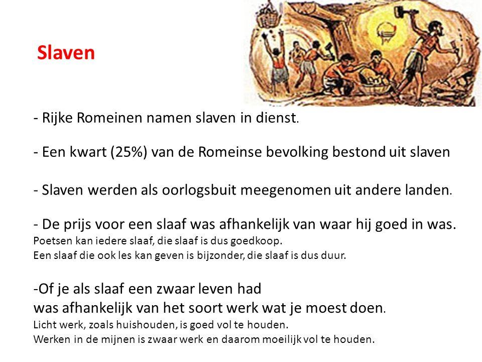 Slaven - Rijke Romeinen namen slaven in dienst.