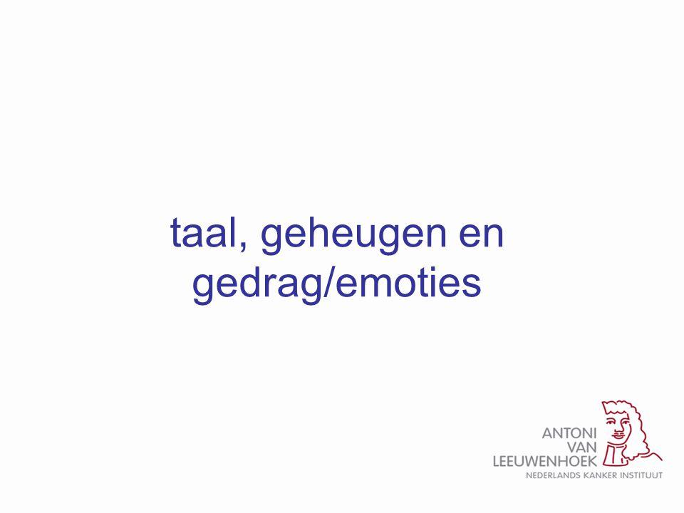 taal, geheugen en gedrag/emoties