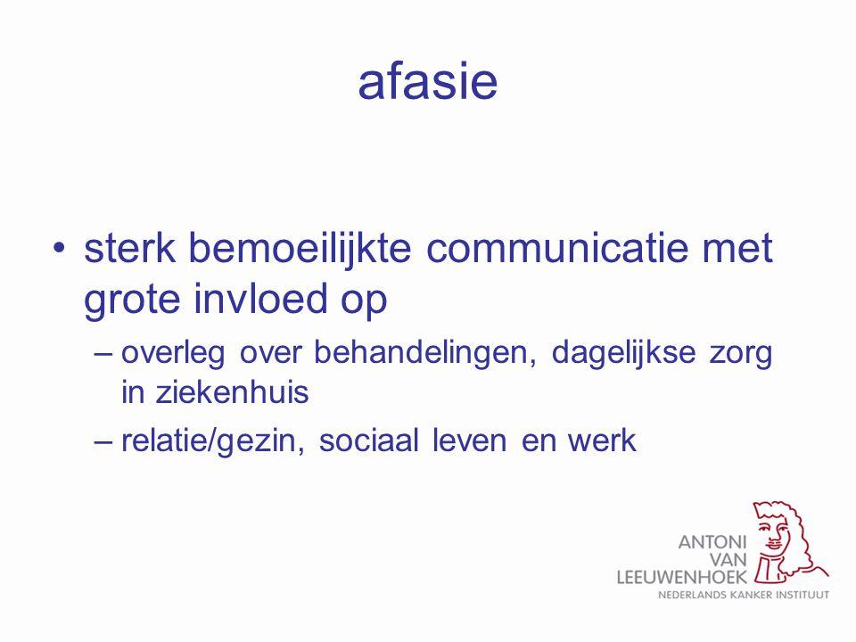 afasie sterk bemoeilijkte communicatie met grote invloed op
