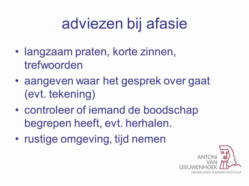 adviezen bij afasie langzaam praten, korte zinnen, trefwoorden