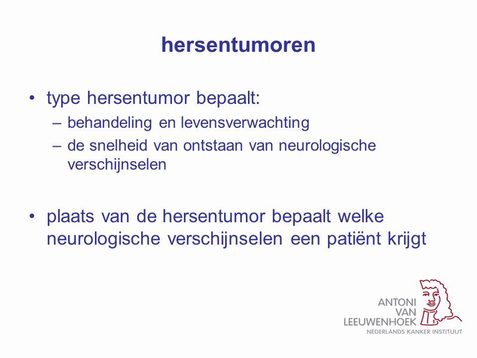 hersentumoren type hersentumor bepaalt:
