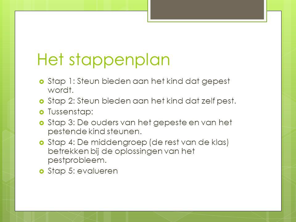 Het stappenplan Stap 1: Steun bieden aan het kind dat gepest wordt.