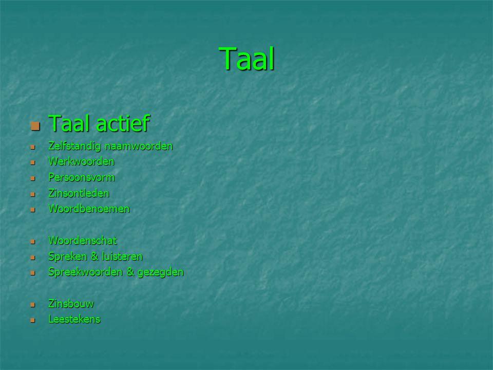 Taal Taal actief Zelfstandig naamwoorden Werkwoorden Persoonsvorm