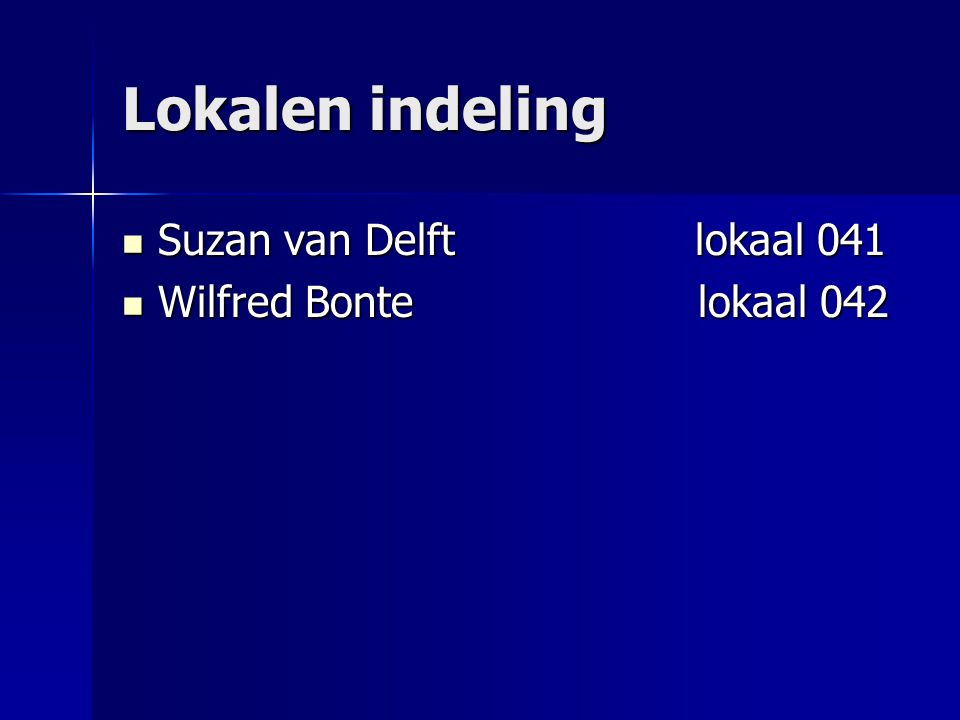 Lokalen indeling Suzan van Delft lokaal 041 Wilfred Bonte lokaal 042