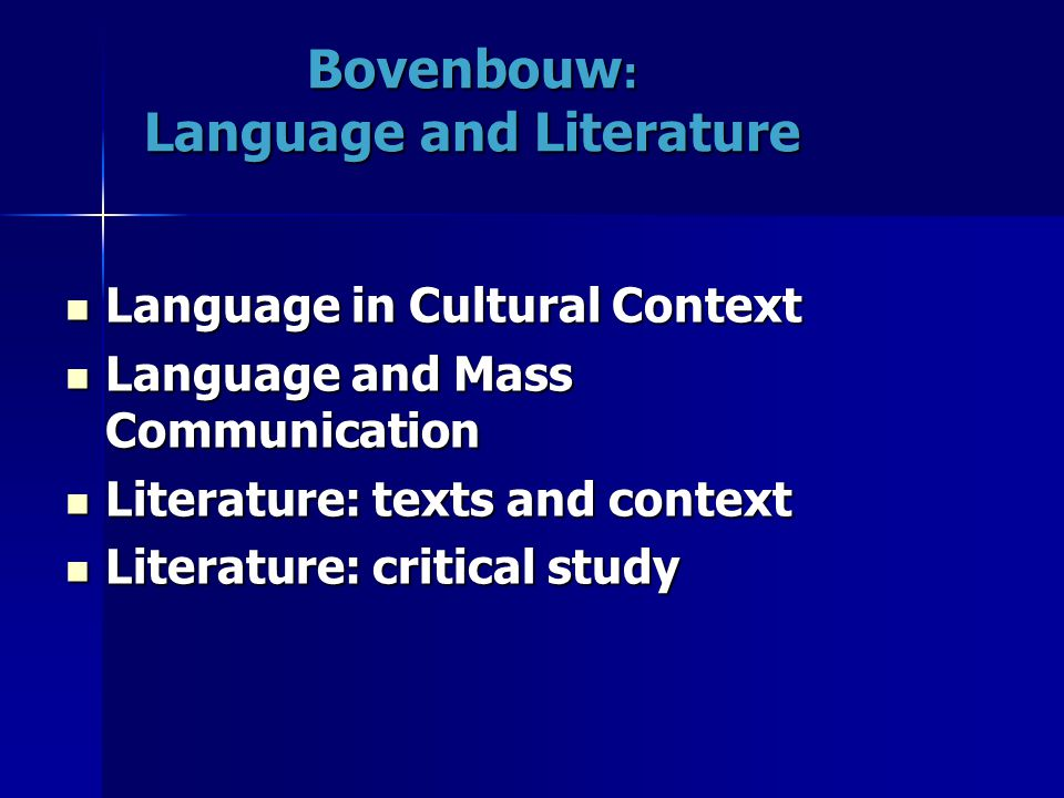 Bovenbouw: Language and Literature